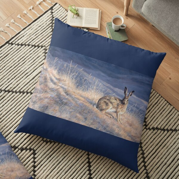 Alert Brown Hare Floor Pillow