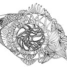Fish 2, Paisley Pattern black and white art by Naquaiya
