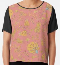 Floral Paradise Patterns in Coral & Yellow Chiffon Top