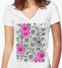 floral t-shirt design Women's Fitted V-Neck T-Shirt