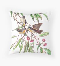 Spotted Pardalotes on Pink Flowering Gum Throw Pillow