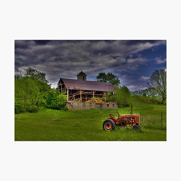 The Little Red Tractor Photographic Print
