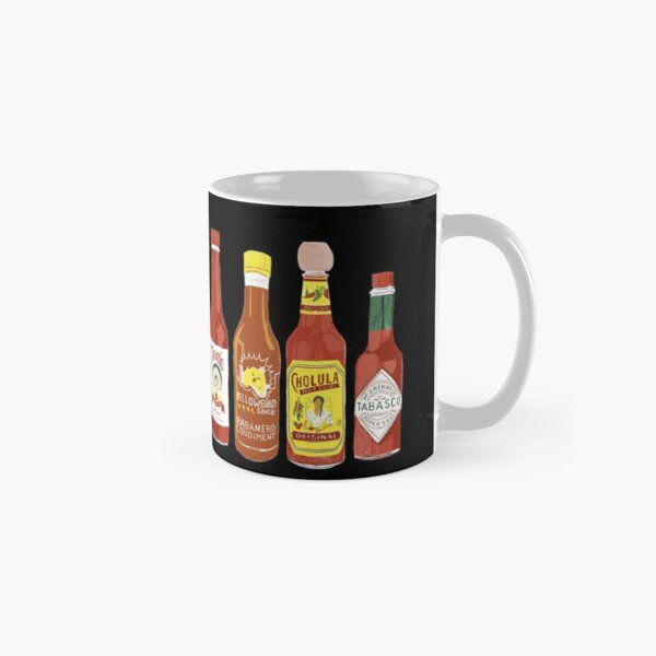 Spicy! Check out these hot sauces on black background Classic Mug
