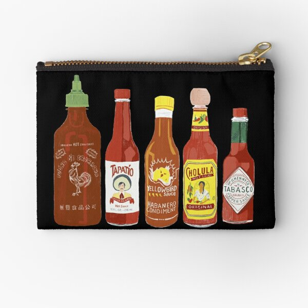 Spicy! Check out these hot sauces on black background Zipper Pouch