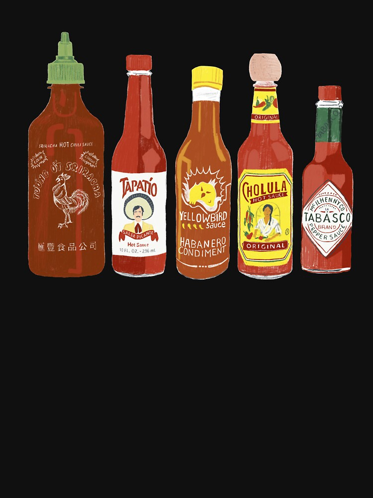 Spicy! Check out these hot sauces on black background by shoshannahscrib