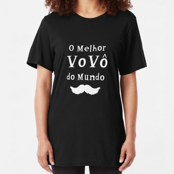 Best Avo Ever O Melhor vovo do Mundo best Grandma In Portuguese Bigote white Slim Fit T-Shirt