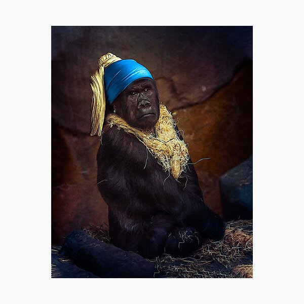 The Gorilla with the Pearl Earring Photographic Print