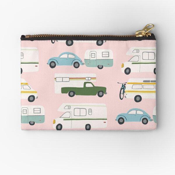 Retro RV Motorhome Camper - green and pink Zipper Pouch