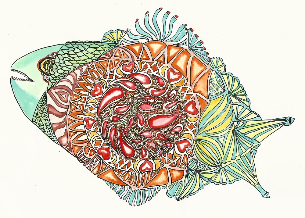 A paisley fish of the imagination, full of olor by Naquaiya