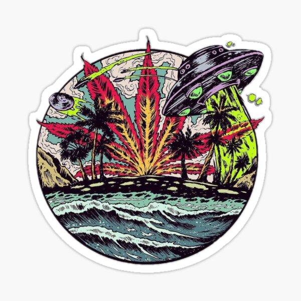 Weed Alien Sticker