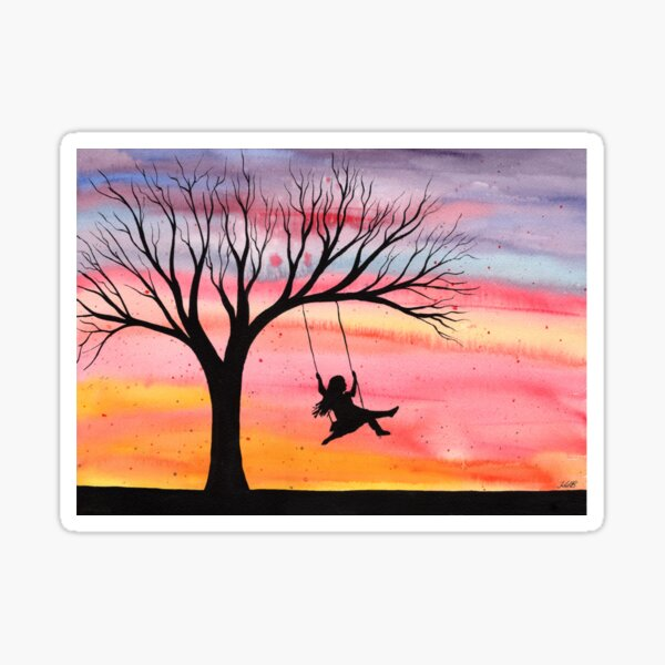 Sunset Joy - Watercolor silhouette of girl on swing  Sticker