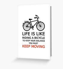Das Leben ist wie Radfahren, Textdesign, Wortkunst Grußkarte