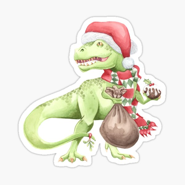 Christmas Dinosaur T-Rex Sticker