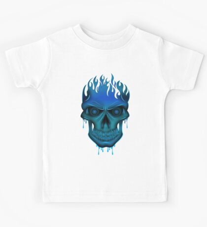 Flame Skull - Blue (2) Kids Clothes