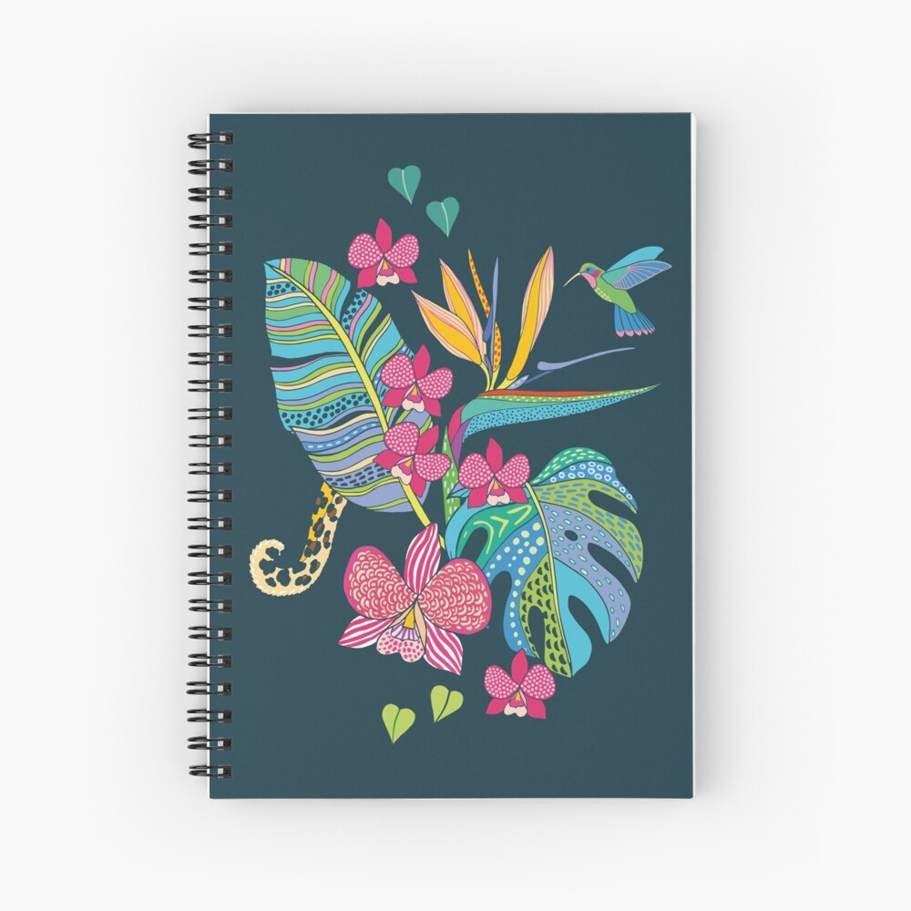 Bohemian Tropical Flowers Spiral Notebook