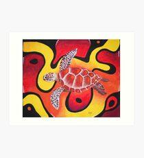Red Turtle Teddie Art Print