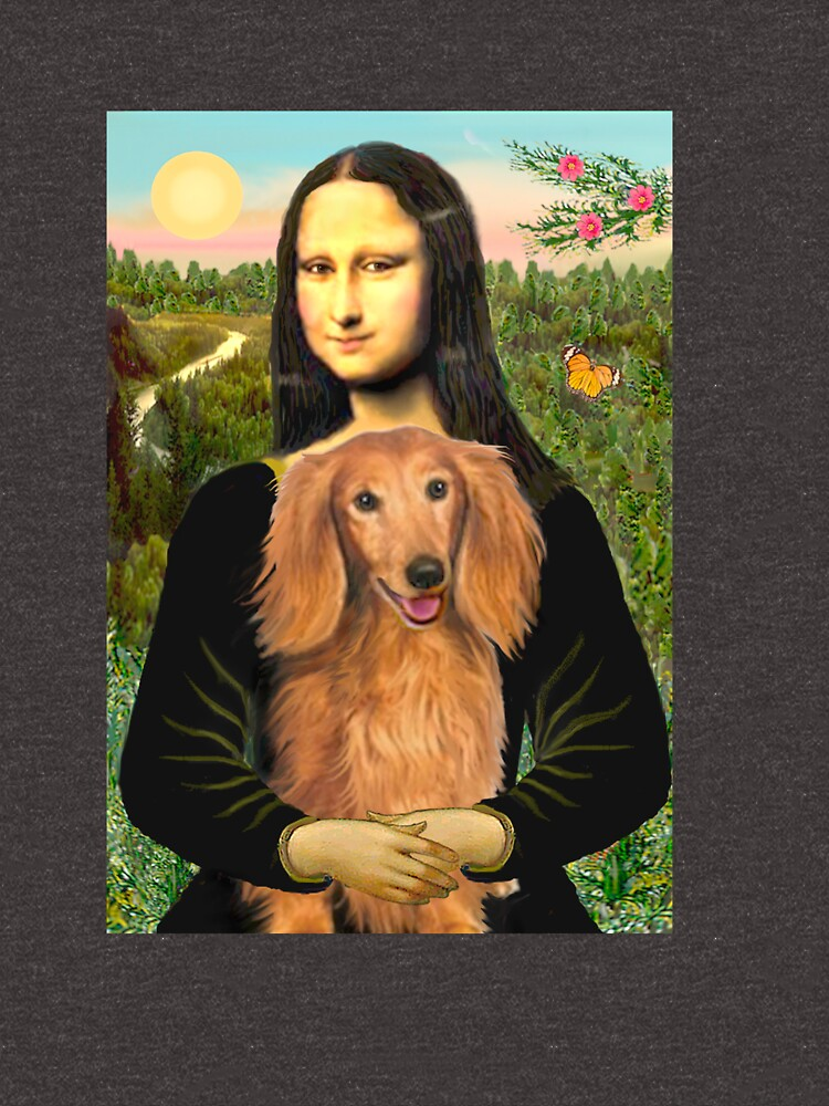 Mona Lisa and her Long Haired Dachshund (sable) by JeanBFitzgerald