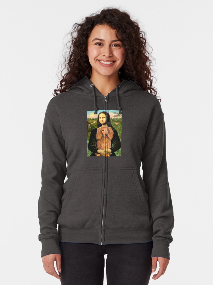 Alternate view of Mona Lisa and her Long Haired Dachshund (sable) Zipped Hoodie