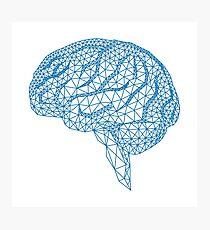 Lámina fotográfica cerebro humano azul con patrón de malla geométrica