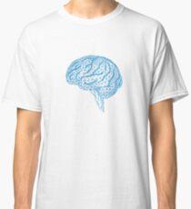 blue human brain with geometric mesh pattern Classic T-Shirt