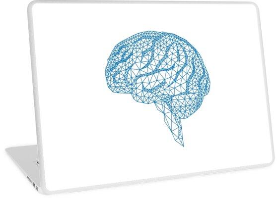 blaues menschliches Gehirn mit geometrischem Maschenmuster von beakraus