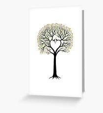Hochzeitsbaum mit Herzen formte Niederlassungen und Vögel Grußkarte