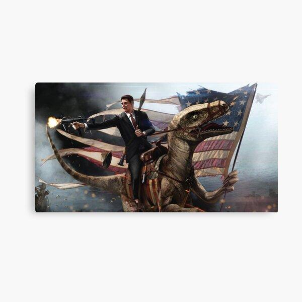 Reagan Riding a Velociraptor T-shirt Canvas Print