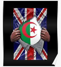 Algerian Flag Ripped - Born In United Kingdom Roots From Algeria Poster
