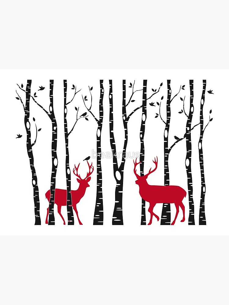 F Birch Trees With Christmas Deers Art Print Home Decor Wall Art Poster