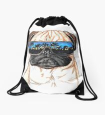 Tofu the pug Drawstring Bag