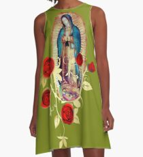 Our Lady of Guadalupe Virgen Maria Tilma Red Roses 120 A-Line Dress