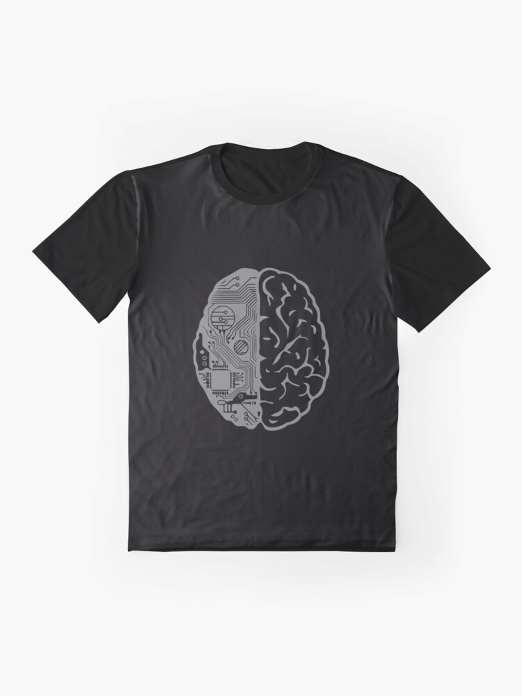 Alternate view of Coding Brain in Grey Graphic T-Shirt