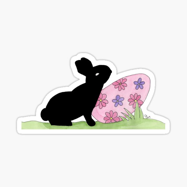 Rabbit and the Purple Flower Easter Egg Sticker