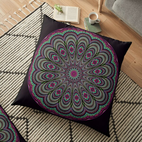 Glowing Peacock Feathers ~ Green Floor Pillow