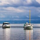 Boats on Lake Taupo by Roger Neal