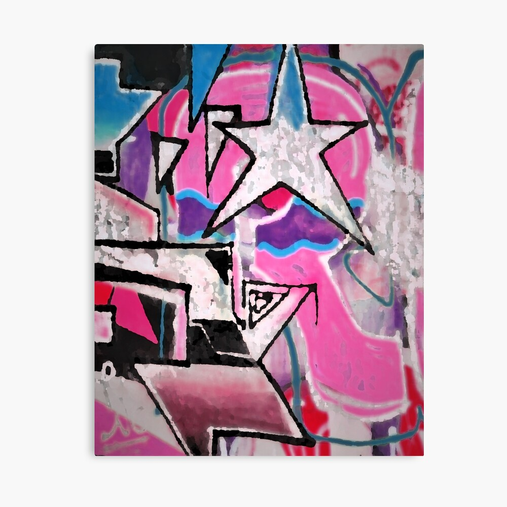 GRAFFITI POPART STREETART MIT STERN PINK Leinwanddruck