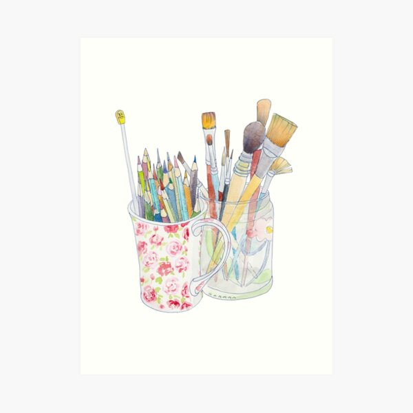 Art Tools: pencils and brushes Art Print