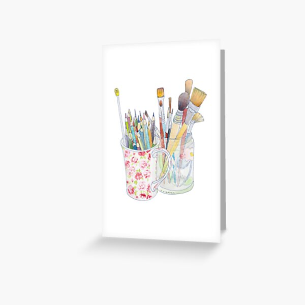 Art Tools: pencils and brushes Greeting Card