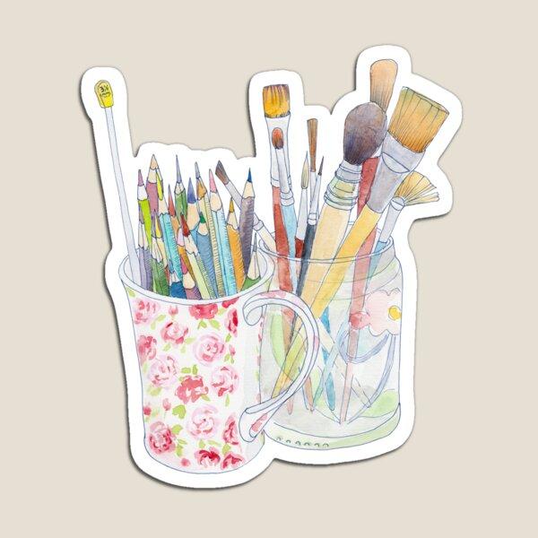 Outils artistiques: crayons et pinceaux Magnet