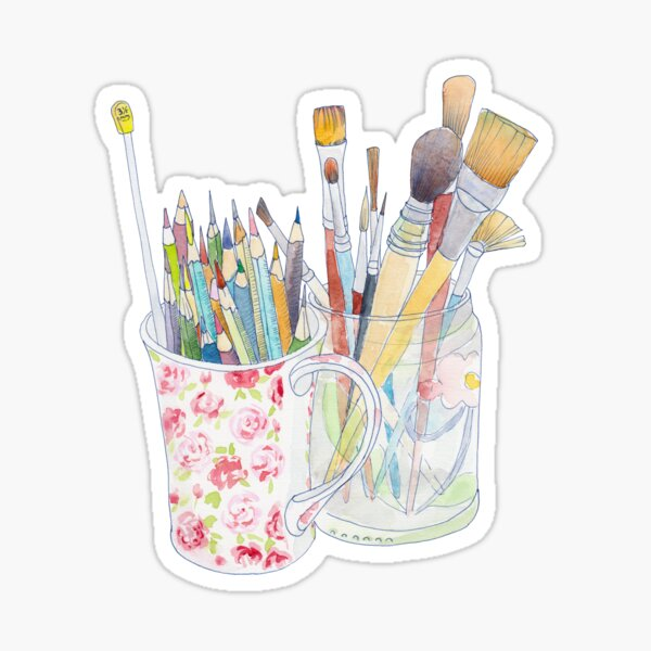 Art Tools: pencils and brushes Sticker