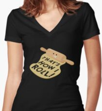 Dough Style Women's Fitted V-Neck T-Shirt