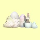 Kawaii Easter Bunny hatching from colored Easter Eggs (Y) by talgursmusthave