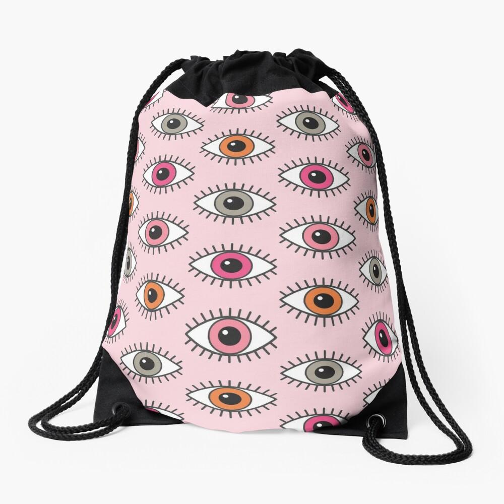 Eyes Wide Open - in Pastel Pinks Drawstring Bag