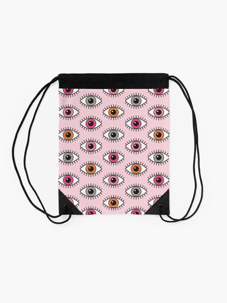 Alternate view of Eyes Wide Open - in Pastel Pinks Drawstring Bag