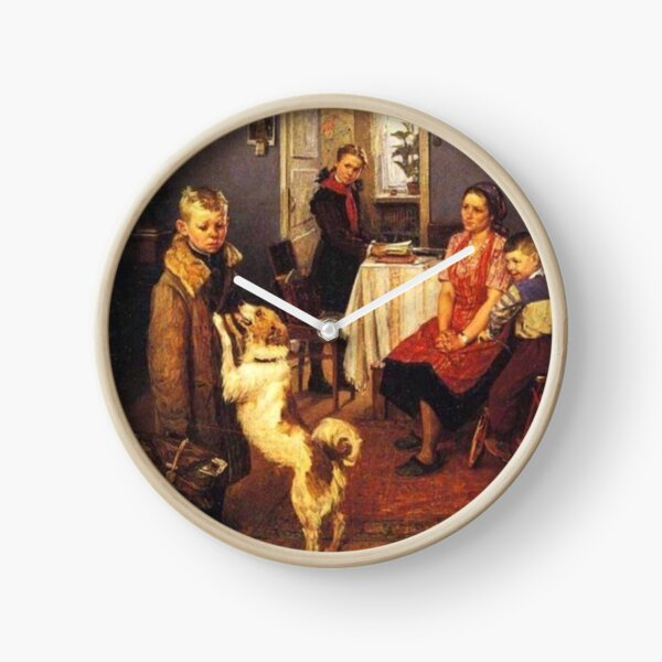 Решетников, Фёдор Павлович. «Опять двойка», холст, масло. Low Marks Again, Fyodor Reshetnikov Clock