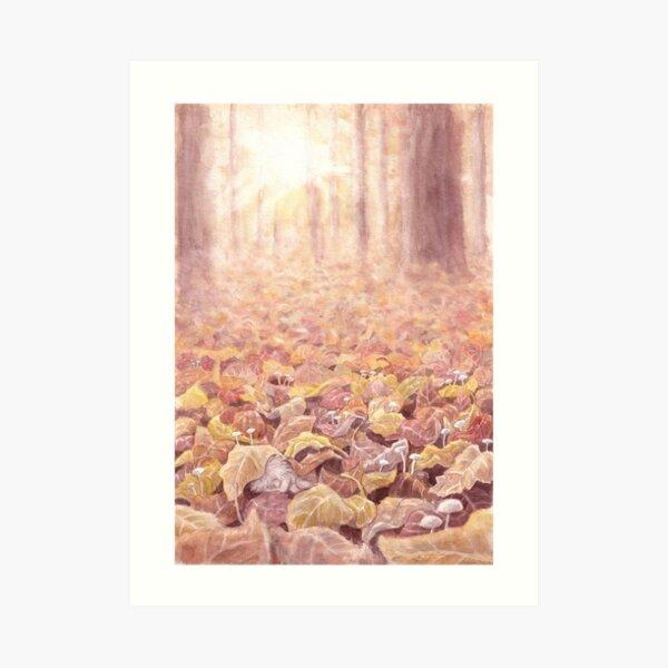 Sleeping in the leaves Art Print