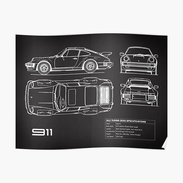 911 Turbo Blueprint Poster