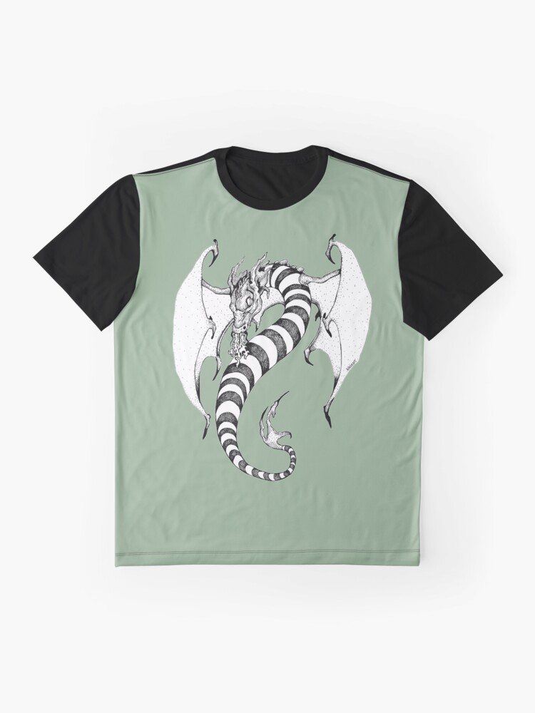 Alternate view of Candy Striped Dragon in Ink Graphic T-Shirt