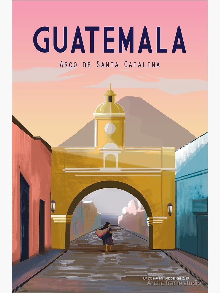 Guatemala Travel Poster ANTIGUA Guatemala Wall Décor  by Caravanstudio