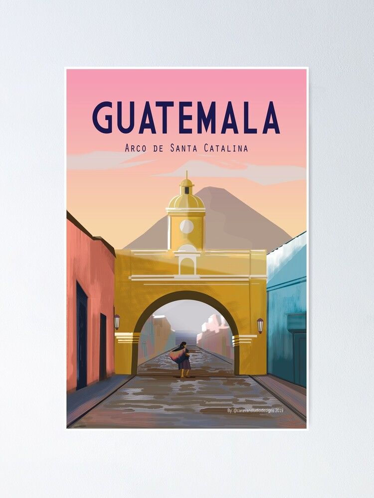 Alternate view of Guatemala Travel Poster ANTIGUA Guatemala Wall Décor  Poster